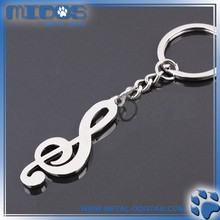 Zinc alloy 30*30mm customized plating metal music note keychain