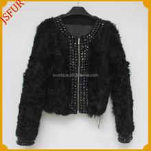 2015 yeni şık kadın paltosu yuvarlak yakalı tasarım koyun kuzu kışlık mont