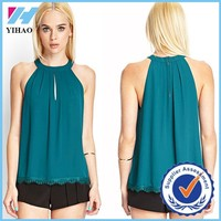 Yihao Trade Assurance 2015 Summer New Women Beach Clothing Green Off the Shoulder Lace Hollow Chiffon Vest tank tops