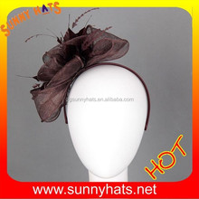 100% sinamay big flower ponytail headband fascinator wholesale