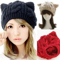 cat ear beanie,cat ear knitted hat