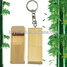 factory wholesale bamboo usb flash disk with key chain