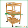 Fuboo-- bamboo storage trolley cart with 3 floor shelves