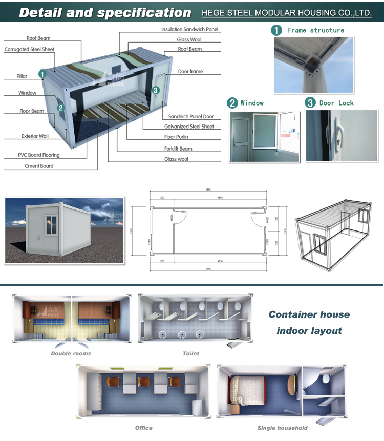 Flat packed container house sandwich panel container cabin for Panel house plans