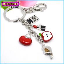 all types custom made lipstick/ cell phone/bag souvenir keychain for girls