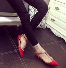Z76331A 2015 Pointed New style fashion high heel rivets studded shoes women shoes