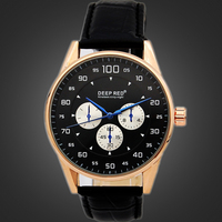 Classic Gold Stainless Steel Case Japan Movement Custom Logo 3 Eyes Genuine Leather Watch