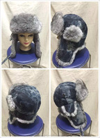 Warm keeping cute black aviator rabbit fur hat with leather shell for 2015 winter