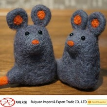 Handmade felted wool grey mouse animal toy ideal for desk decoration new for 2015
