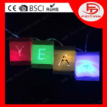 christmas gift box with letter decoration light with CE ROHS standard PVC led christmas light