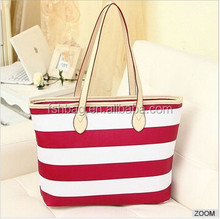 2015 Hot Sale Women New Fashion stripe bags Simple PU Leather Handbag, Big Shoulder Bags, Brief