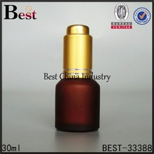 Wheaton amber painting glass bottles wholesale online,2015 new products 30ml glass cosmetic bottle w golden pump press