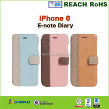 Wholesale manufacture leather flip case cover for iphone 6 leather case with card holders