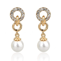 Fashion Jewelry Pearl And Rhinestone Drop Earring On Line Wholesale