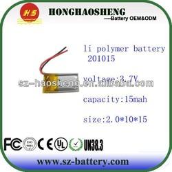 2mm thickness 021015 3.7v li polymer battery cell 15mah mini mp3 player battery