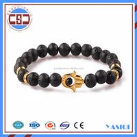 Fashion women accessories lava stone hamsa bracelets elastic bracelet for men