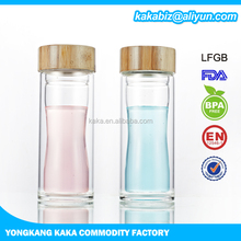 350ml high quality double wall glass water bottle with wooden top