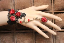 LS-046 Yiwu Caddy Lace bracelet with ring wristiest female accessories bridal bracelet wristband ring set