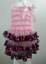 Hot Sale!!! boutique lace chiffon triple layer dress baby girl party dress children frocks design