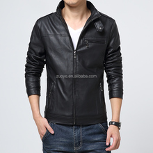 2015 OEM Mens Leather PU Genuine Cheap Faux Men Leather Jacket With new arrival fancy leather sleeves denim jacket for men