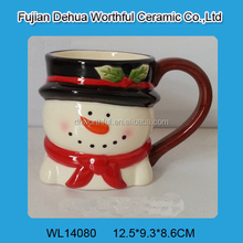 Cute snowman shaped ceramic coffee mug in high quality