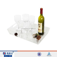 Skillful customize lucite acrylic serving tray with handles