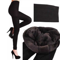 Womens Knitted Thick Leggings Fleece Lined Warm Winter Pants Thermal One Size fur inside lined leggings