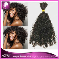 malaysian china supplier virgin hair extensions without weft afro curly bulks hair weaving for wig making braiding black people
