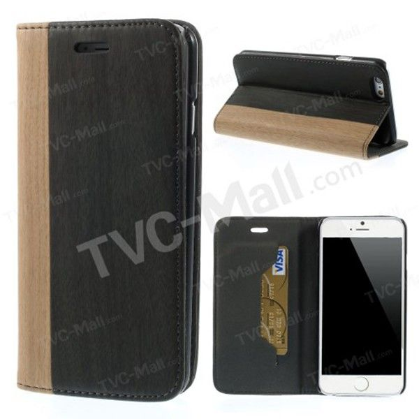 Smooth Wood Grain Flip Leather Case For Apple iPhone 6 Accessory