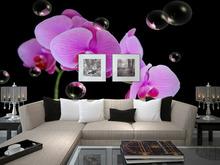 Atacado Eco-friendy 3d enorme mural sonho orquídea para fundo sofá tv moda papel de parede para decoração do