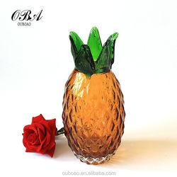 Emulational Handicraft Pineapple Shaped Glass Flower Vase,Home Decoration Flower Vase First Choice