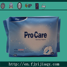 High aborbency female anion sanitary napkins for women/lady with breathable cotton surface