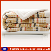 British style super soft lattice printed blanket