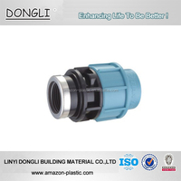 PP Female Thread Socket pp compression fittings for irrigation hdpe pipe with metal clamp