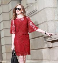Wholesale brand women's European leg of round neck fifth trumpet sleeve shirt + vest + lace skirt suit fashion