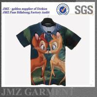 2015 JMZ deer print t-shirt cotton O neck wholesale t-shirt