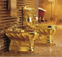 Only one China manufactuer for luxury ture gold sanitary ware suite toliet bidet basin