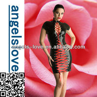 Hot Sale Ladies Sexy Leather Open breast club dresses A5058