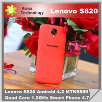 "Original Lenovo S820 Android Mobile phone Smartphone MTK6589 Quad core 1GB RAM 4GB ROM 4.7"" IPS HD Screen Russian Cell Phones"