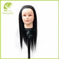 New Black Training Human Hair Mannequin Head for Cosmetology Students