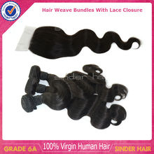 Top 6A grade Brazilian virgin human hair body wave lace closure with hair bundles