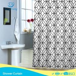 Simple black diamond polyester prited hookless shower curtain