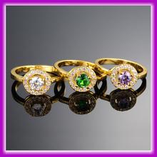 Últimas mujeres del diseño baratos Fake Diamond anillo de bodas del oro