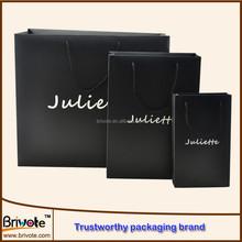2015 hot sale Black custom printed paper shopping bag