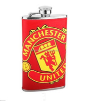 Stainless Steel Hip Whisky Flask With Leather Covered Angd SIlk Screen