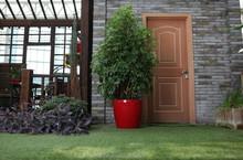 outdoor red flower decorative plastic planter