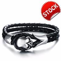 Stainless Steel Classic Fashion Men's Skull Genuine Leather Bracelet