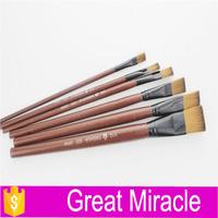 6 piece nylon hair flat for oil paint brush short wooden handle artist brush