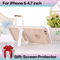 """I6 Super Stand Flexible Clear TPU Phone Case For Iphone 6 4.7inch Slim Back Protect Skin TPU+PC Phone Cover for iPhone 6 4.7"""""""