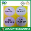 Waterproof adhesive round labels sheet,printing adhesive QC pass label